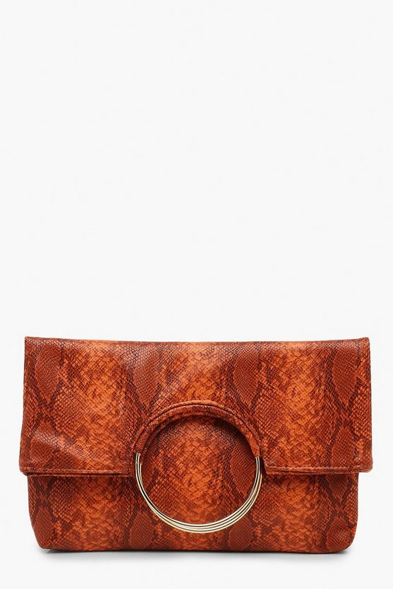 Faux Snake Ring Clutch With Chain