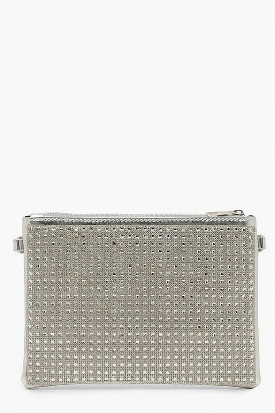 Womens All Over Diamante Zip Top Clutch With Chain