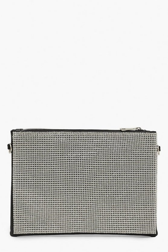 Chainmail Zip Top Clutch With Chain