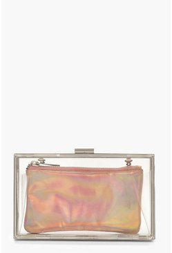 Womens Rose Holographic Purse Clear Box Clutch