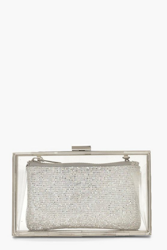 Disco Glitter Purse Box Clutch