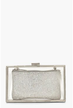 Womens Silver Disco Glitter Purse Box Clutch