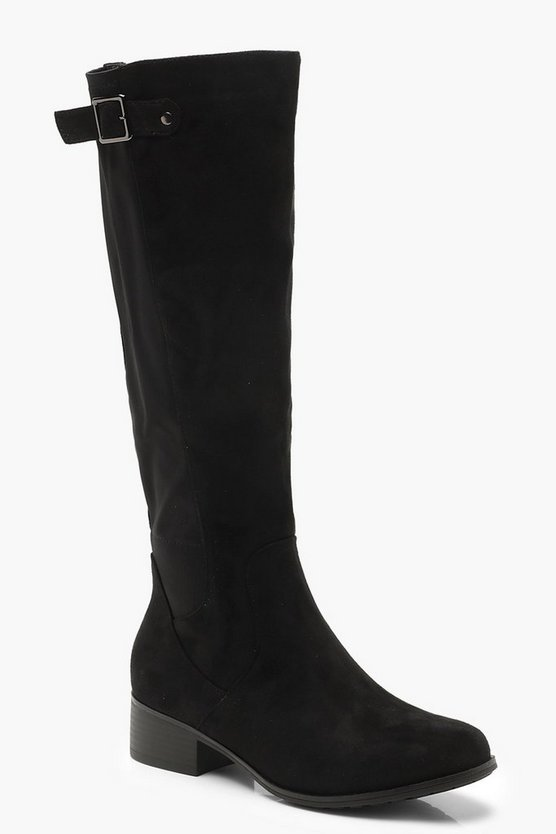 Womens Black Buckle Trim Knee High Rider Boots