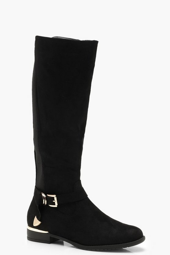 Buckle Trim Flat Rider Boots