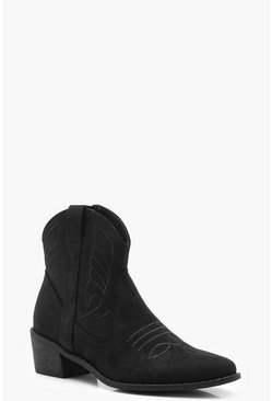 Womens Black Stitch Detail Western Boots