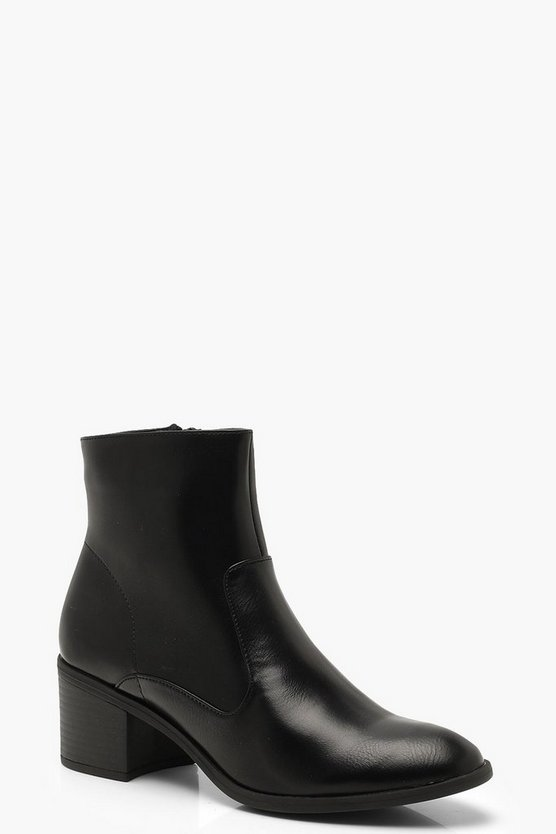 Womens Black Low Heel Ankle Boots