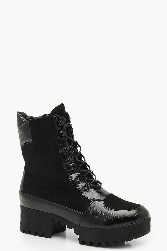 Womens Black Croc Mix Chunky Hiker Boots