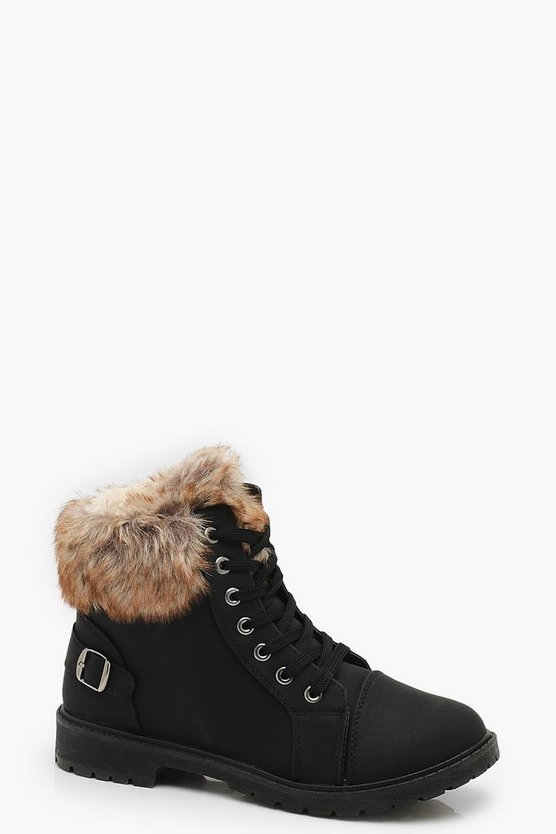 Womens Black Faux Fur Cuff Hiker Boots