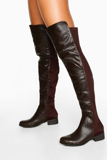Womens Chocolate Croc Knee High Boots