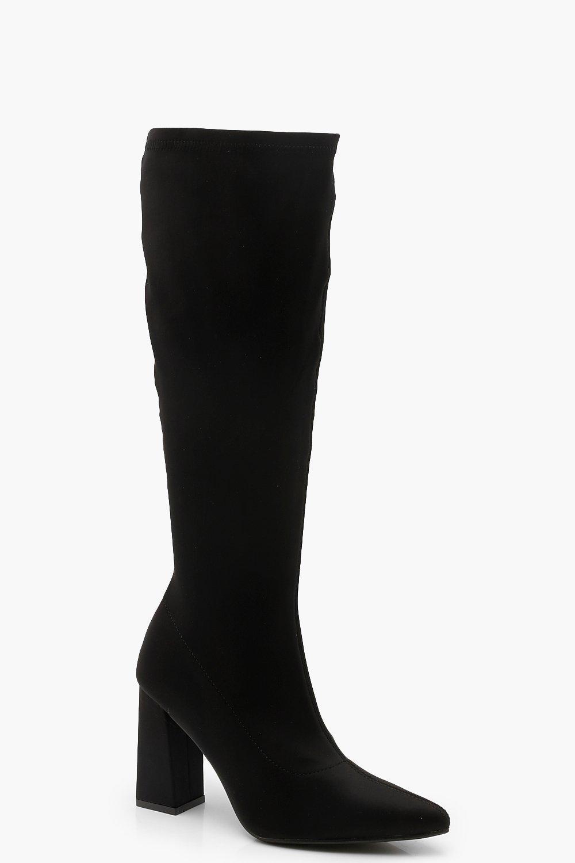 Block Heel Knee High Boots