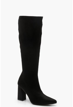 Womens Black Block Heel Knee High Boots