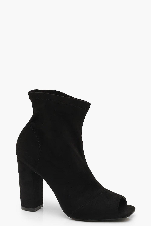 532b6e80f82 Square Peeptoe Block Heel Sock Boots | Boohoo