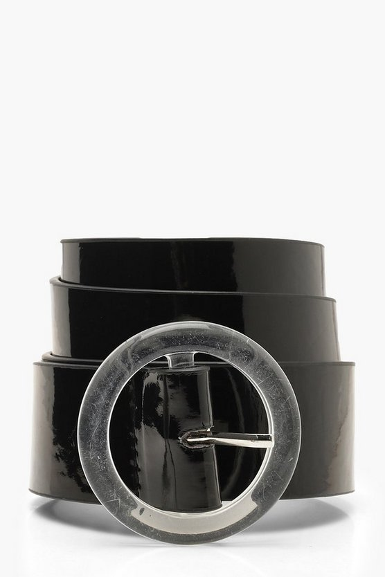 Womens Black Clear Circle Buckle Patent Belt