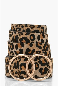 Leopard Belt With Gold Double Ring, Brown