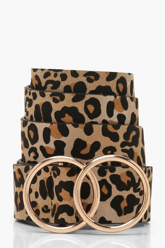 Leopard Belt With Gold Double Ring