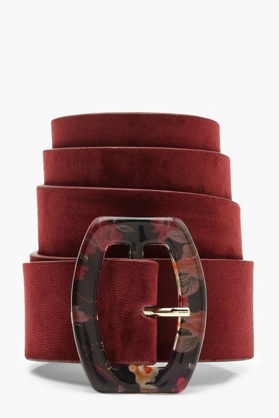 Womens Red Multi Colour Resin Rectangle Buckle Belt