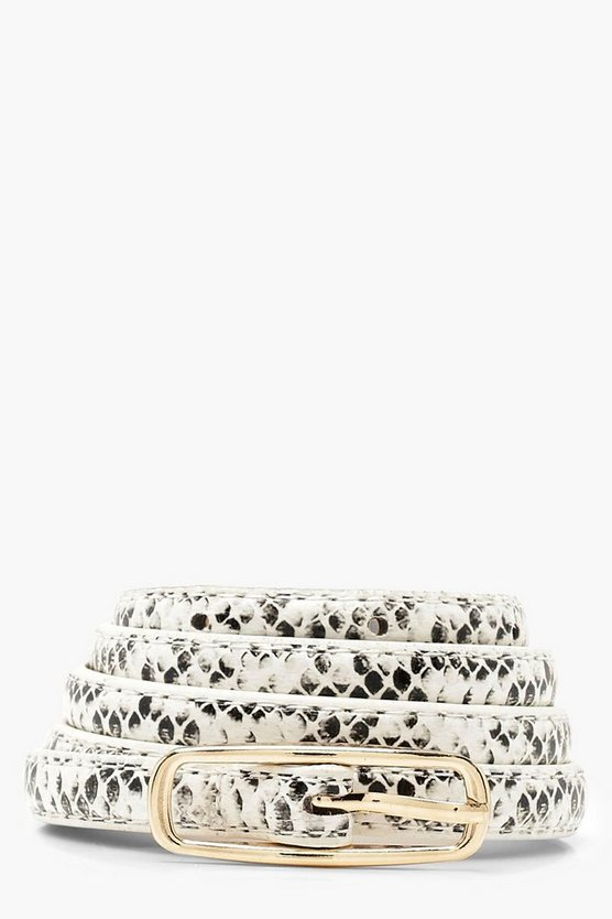Womens White Faux Python Skinny Belt