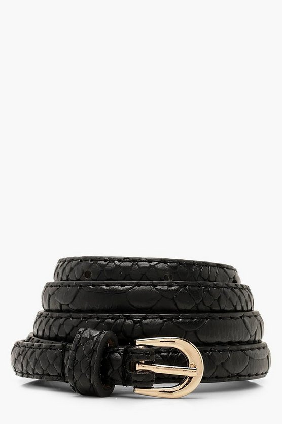Womens Black Faux Python Skinny Belt
