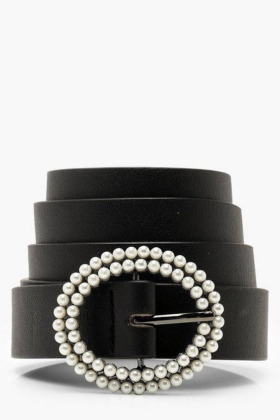 Womens Black Pearl Round Buckle Boyfriend Belt