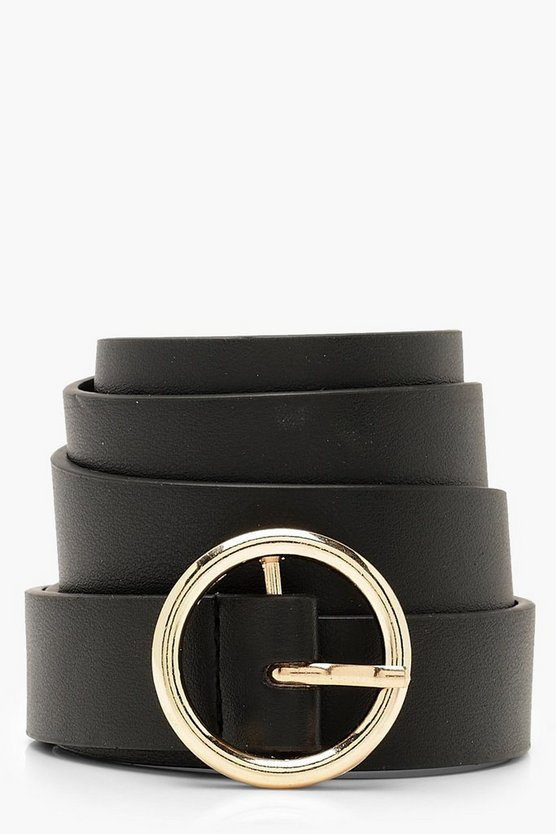 Womens Black Circle Buckle Boyfriend Belt