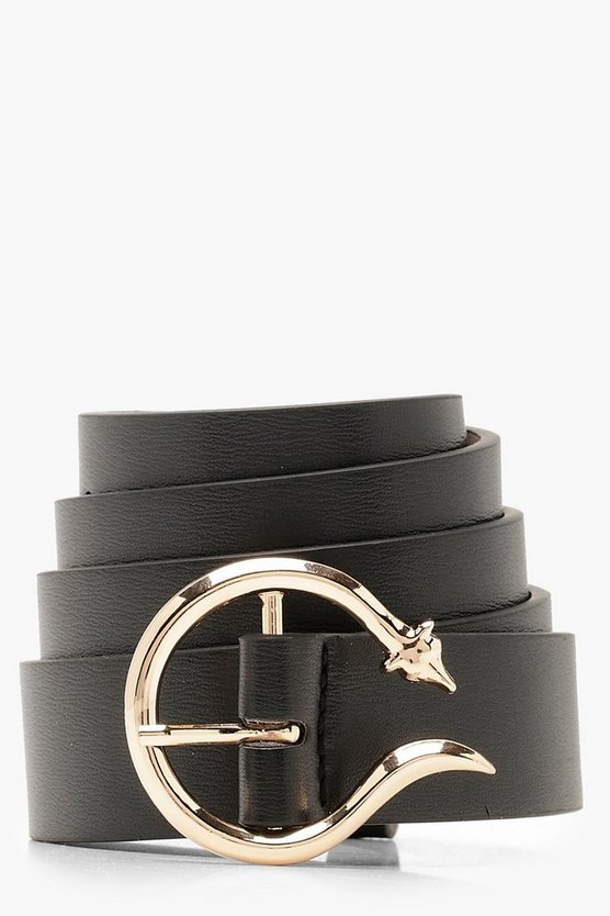 Womens Black Snake Horn Buckle Boyfriend Belt
