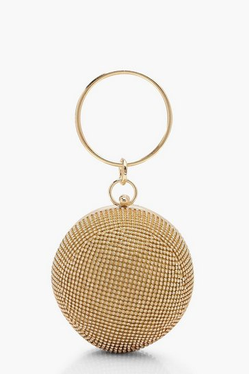 Womens Gold All Over Diamante Sphere Ring Handle Bag