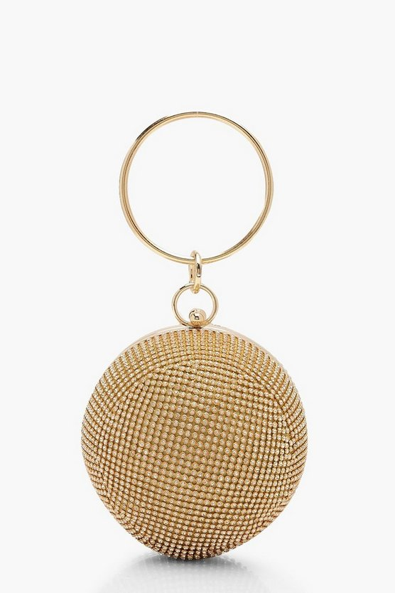 Borsa con manico All-Over anello con strass a sfera