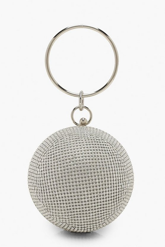 Silver All Over Diamante Sphere Ring Handle Bag
