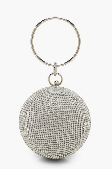 Womens Silver All Over Diamante Sphere Ring Handle Bag
