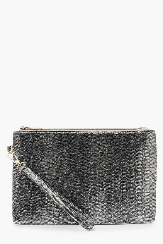 Metallic Faux Python Snake Zip Top Clutch
