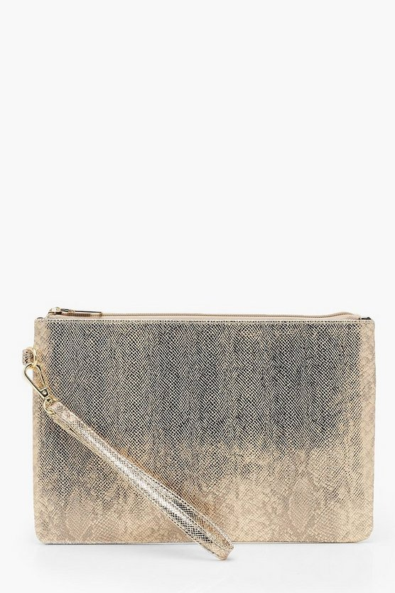 Womens Metallic Faux Python Snake Zip Top Clutch