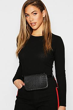 All Over Faux Croc Belt Bags