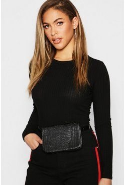 Womens Black All Over Faux Croc Belt Bags