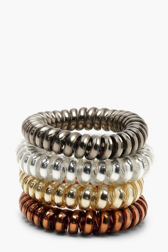 Womens Multi Tonal Metallic Coil Elastic Hair Bands