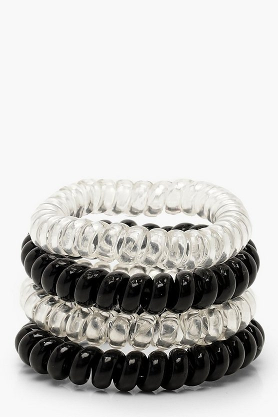 Black & Clear Coil Elastic Hair Bands