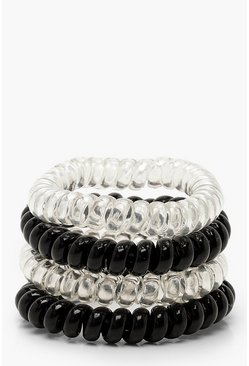 Womens Multi Black & Clear Coil Elastic Hair Bands