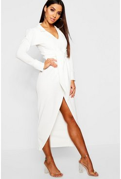 Womens White Plunge Front Tie Waist Blazer Maxi Dress