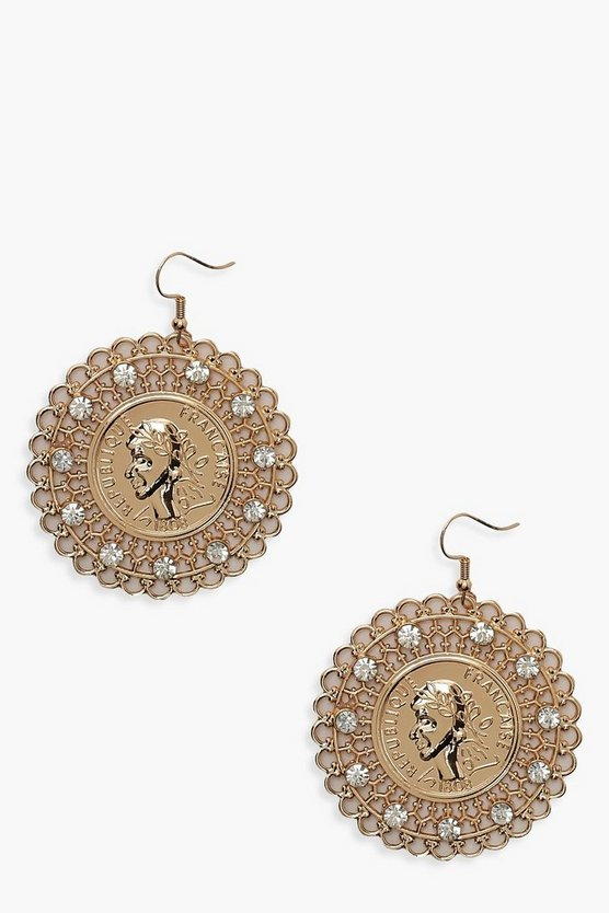 Womens Gold Diamante Filigree Coin Earrings