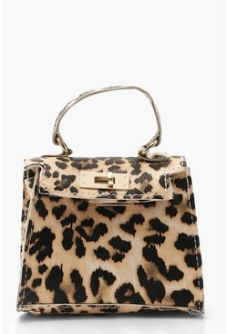 Womens Natural Leopard Micro Mini Grab Bag