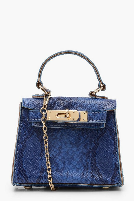 Womens Blue Faux Snake Micro Mini Grab Bag