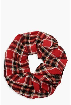 Womens Red Tartan Check Scrunchie