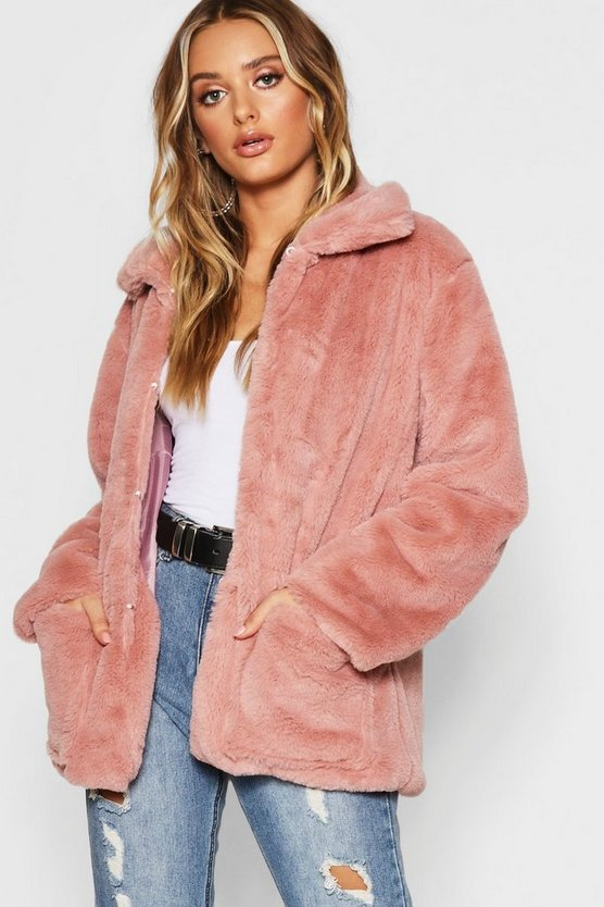 Womens Dusky pink Super Soft Faux Fur Coat