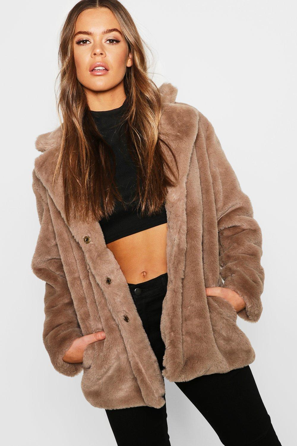 Revere Collar Faux Fur Coat