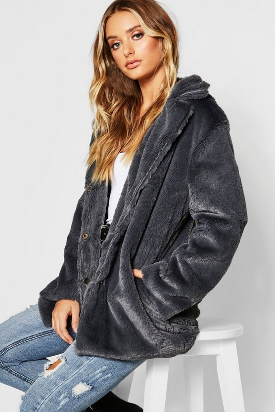 Womens Grey Revere Collar Faux Fur Coat