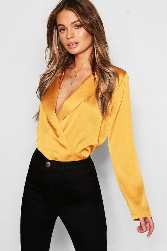 Satin Wrap Front Blouse