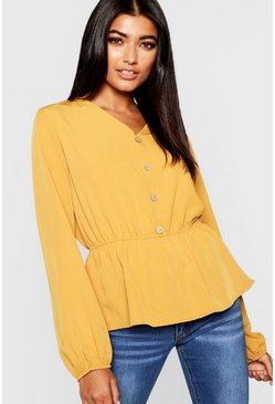 Womens Mustard Woven Button Front Peplum Blouse
