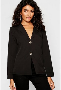 Womens Black Collared Button Up Blouse