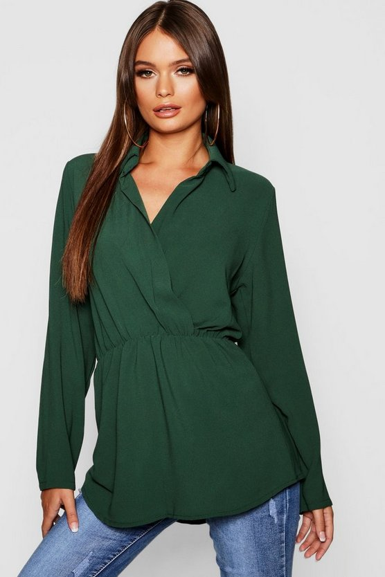 Woven Knot Front Collar Longline Blouse