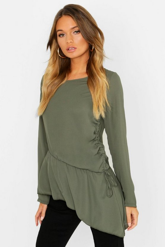 Ruched Side Tie Detail Blouse