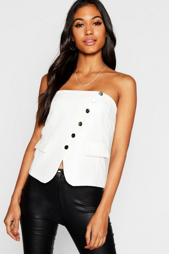 Button Front Tailored Bustier